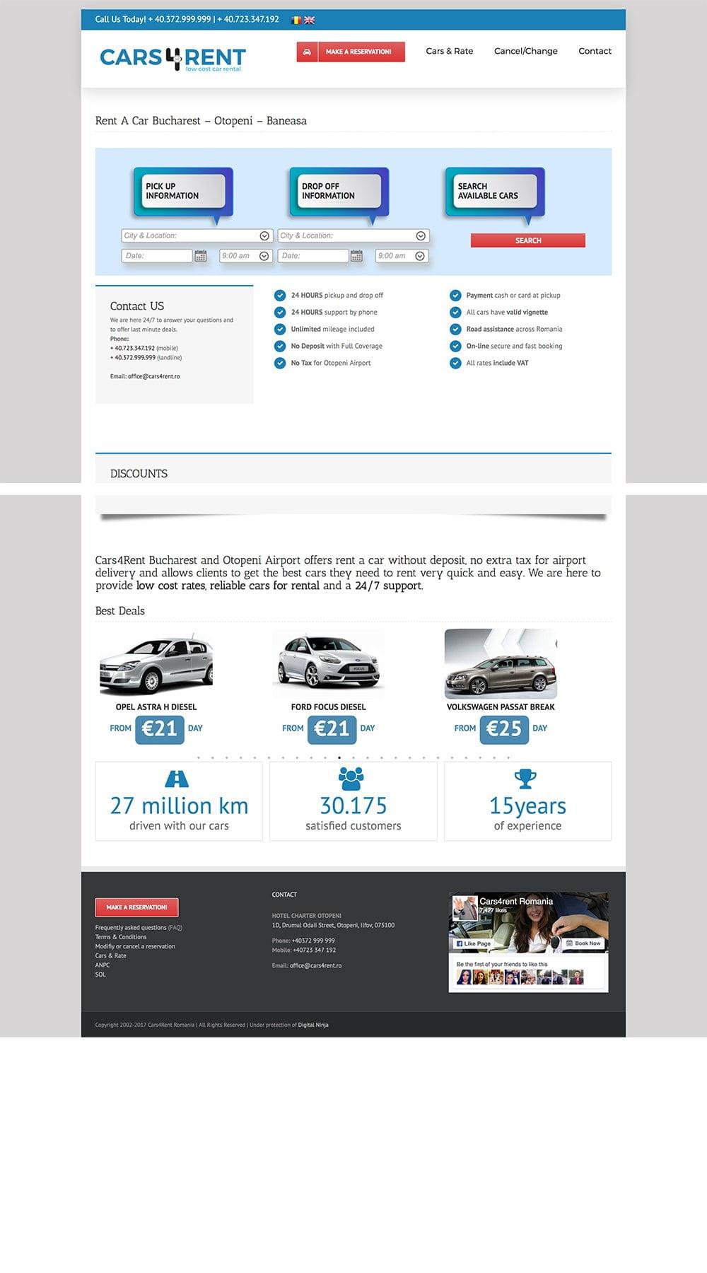 Agentie Web Design portofoliu client cars4rent.ro