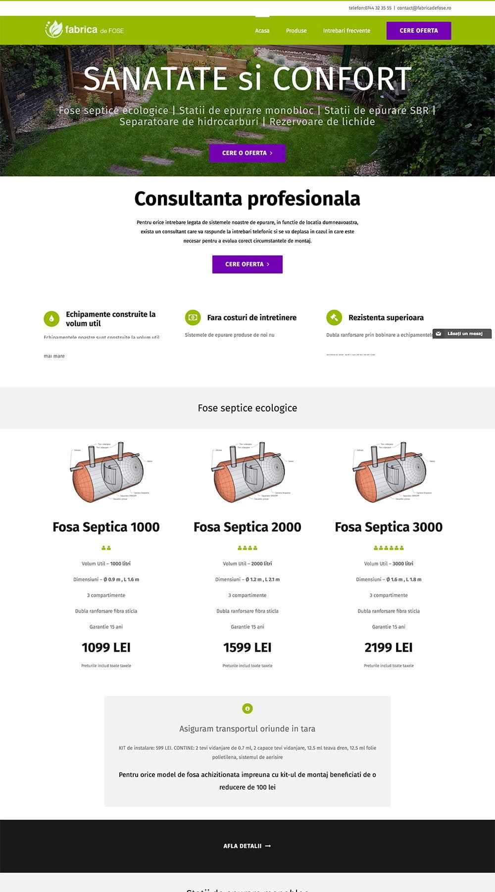 Agentie Web Design portofoliu client fabricadefose.ro
