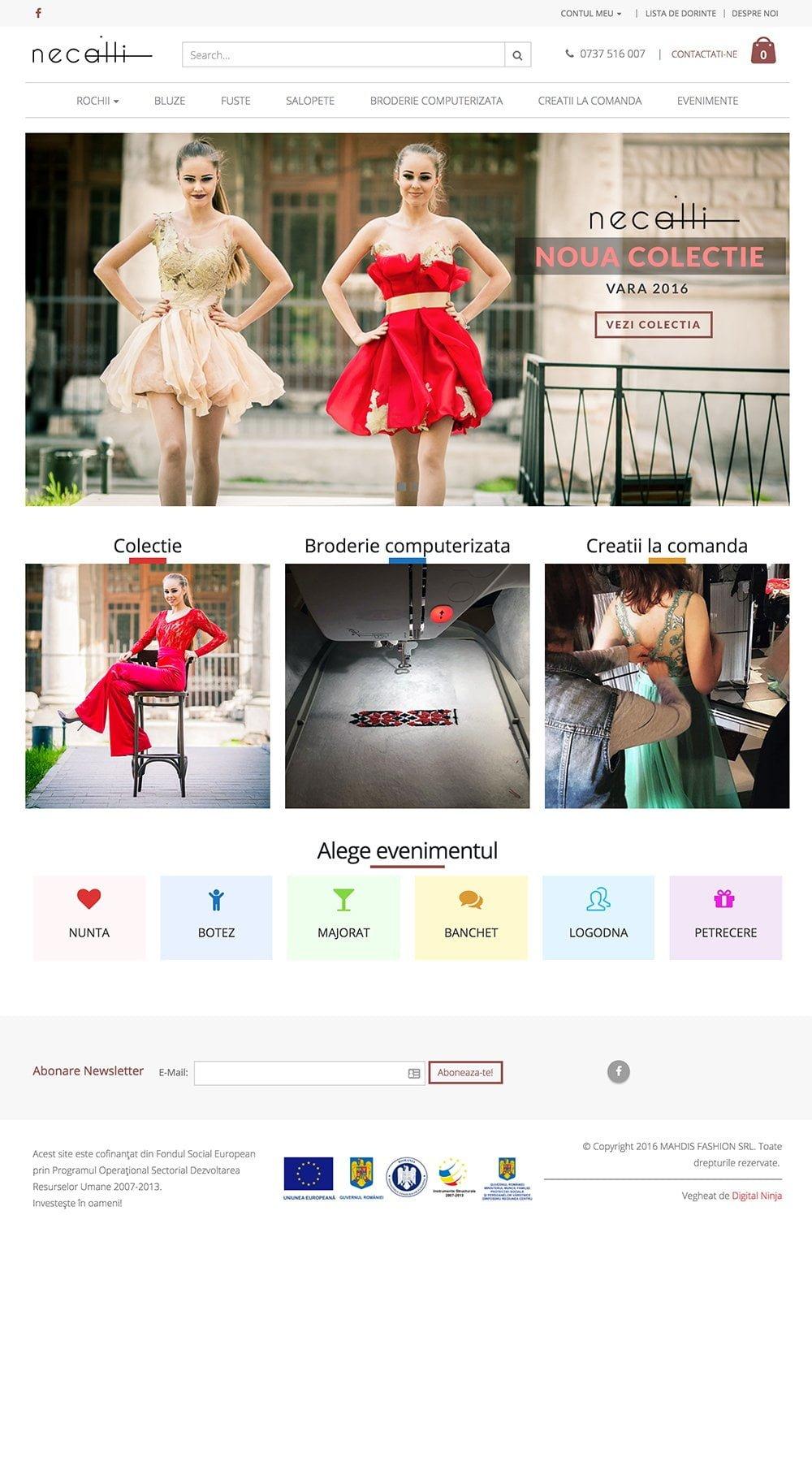 Agentie Web Design portofoliu client necalli.ro