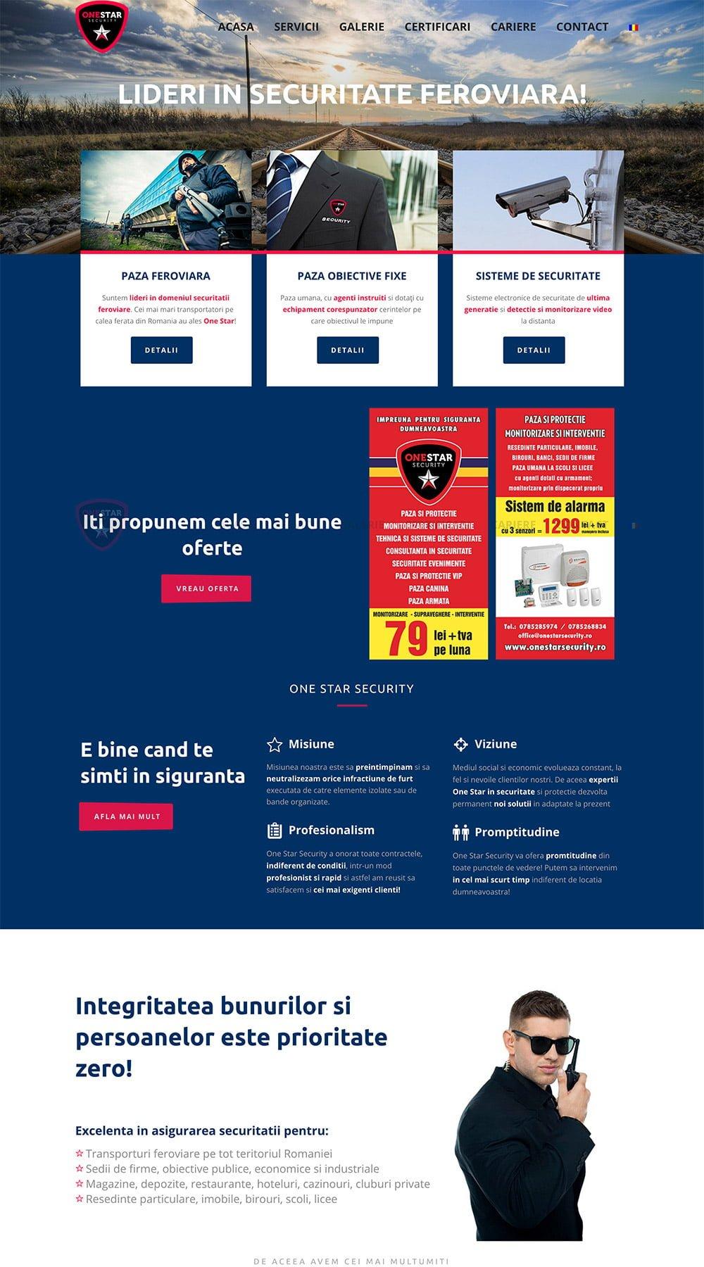 Agentie Web Design portofoliu client onestarsecurity.ro